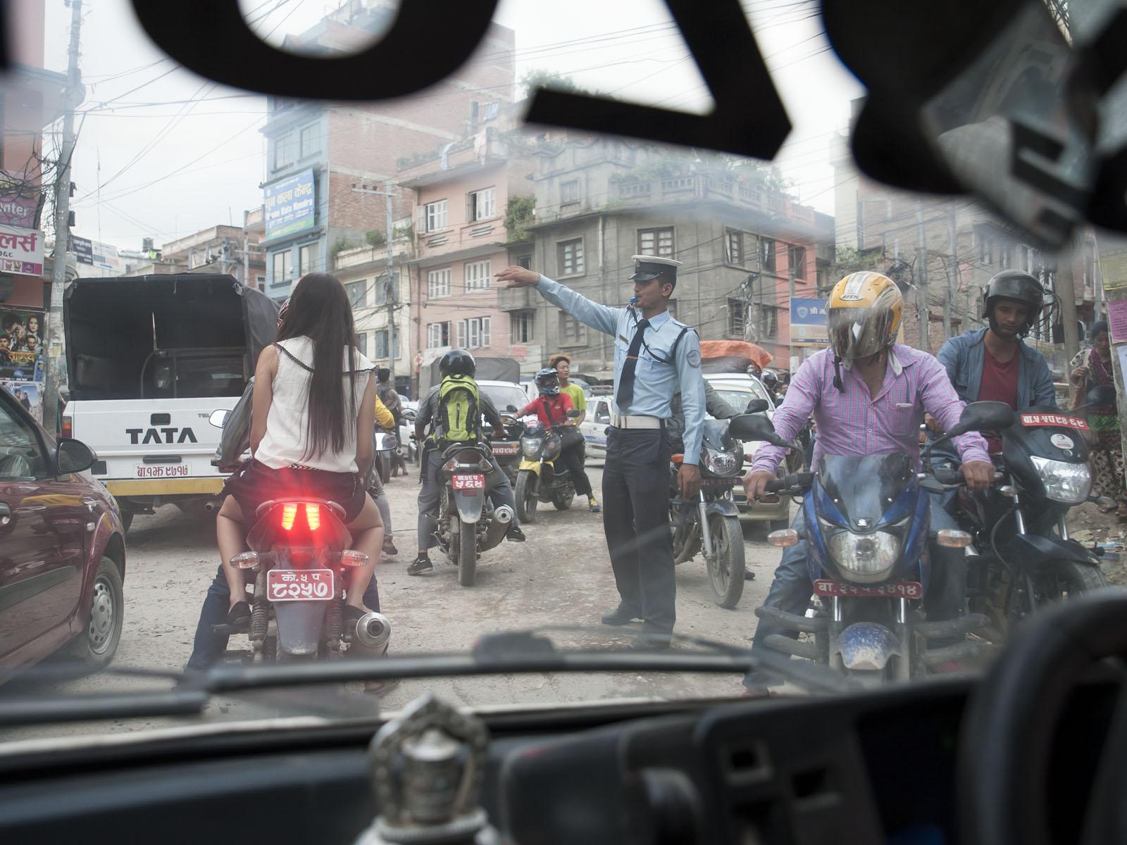 Our small 800cc Suzuki Taxi was enough to cause a traffic jam near our house in Chuchepati!