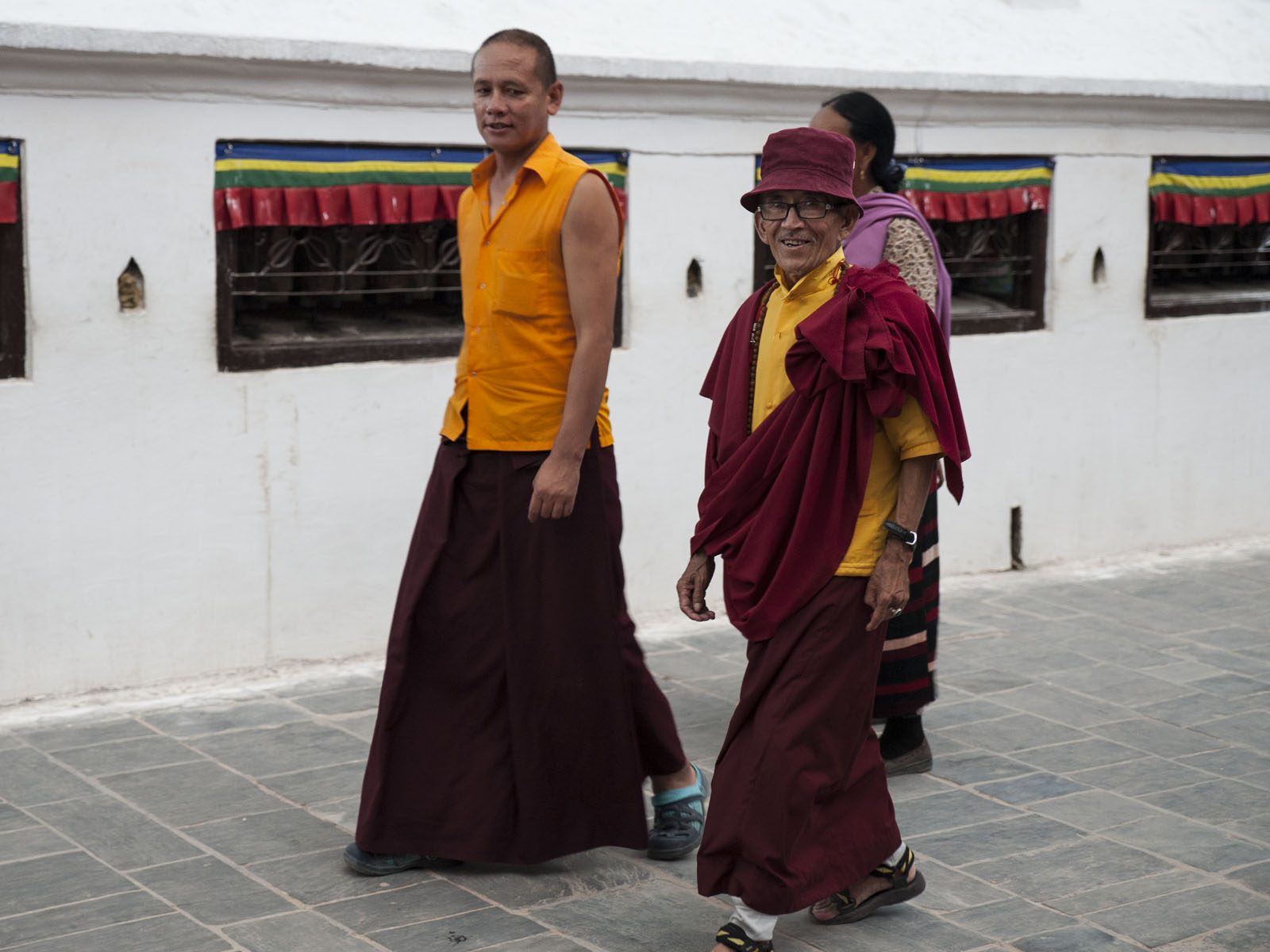 The Boudha Stupa was only 5 mins from our house. Here, two Monks walk clockwise around the temple.