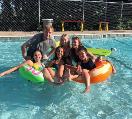 Friends in the Swimming pool at camp USA